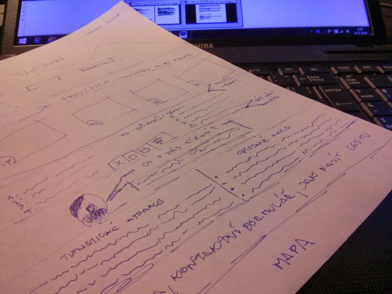 Náčrt rozložení (mockup) nového webu na papíře.