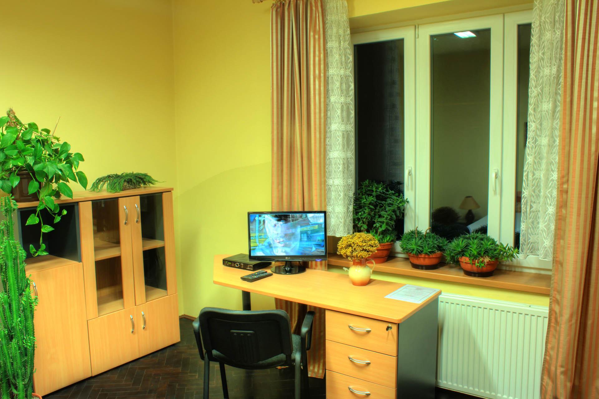 Úložné prostory, pracovní stůl se satelitní televizí a dekorace živými květinami v pokoji Lukrécie