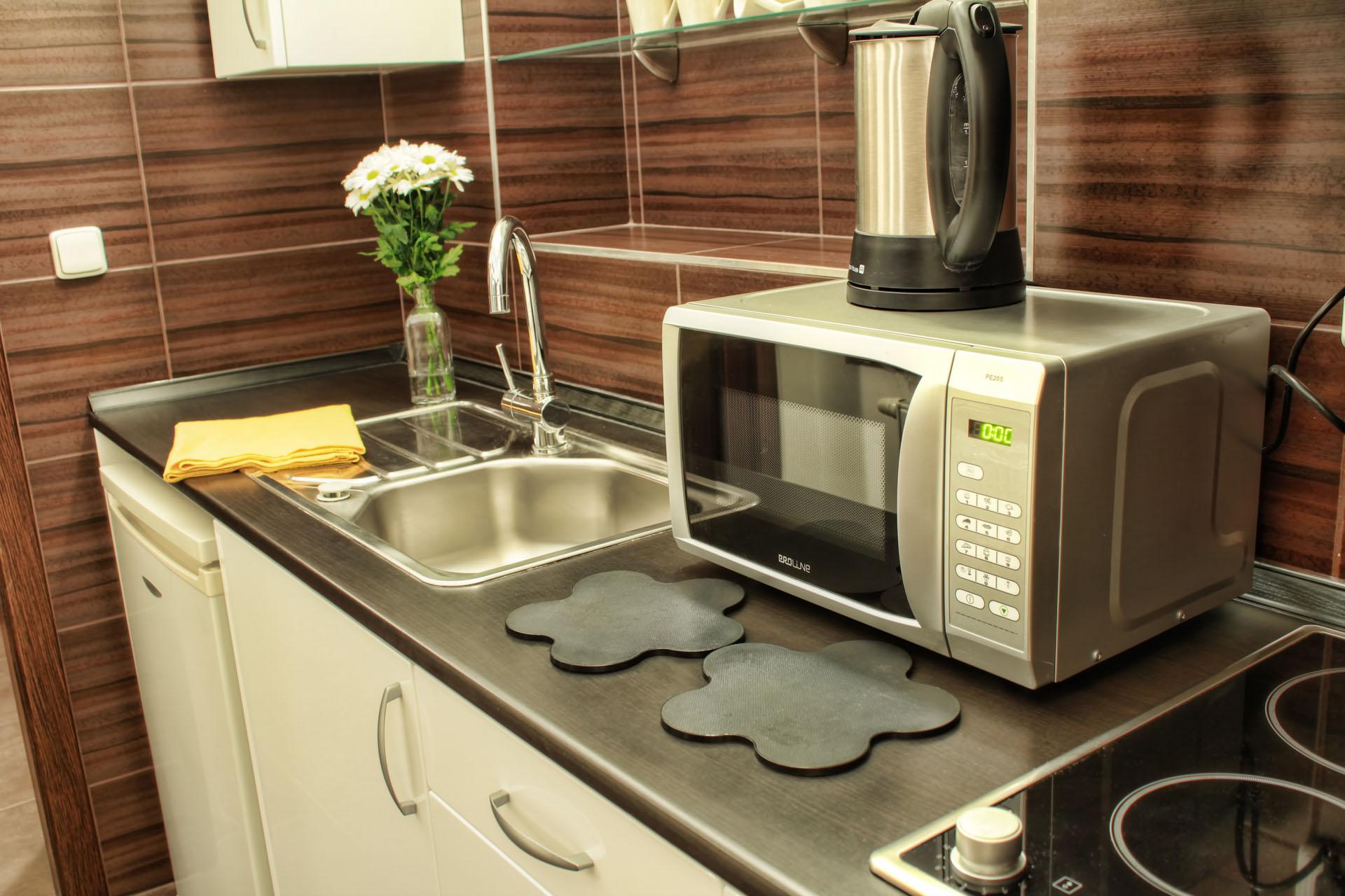 Kuchyňská linka s lednicí, mikrovlnnou troubou, varnou konvicí a vařičem v apartmánu Ornela a Lukrécie